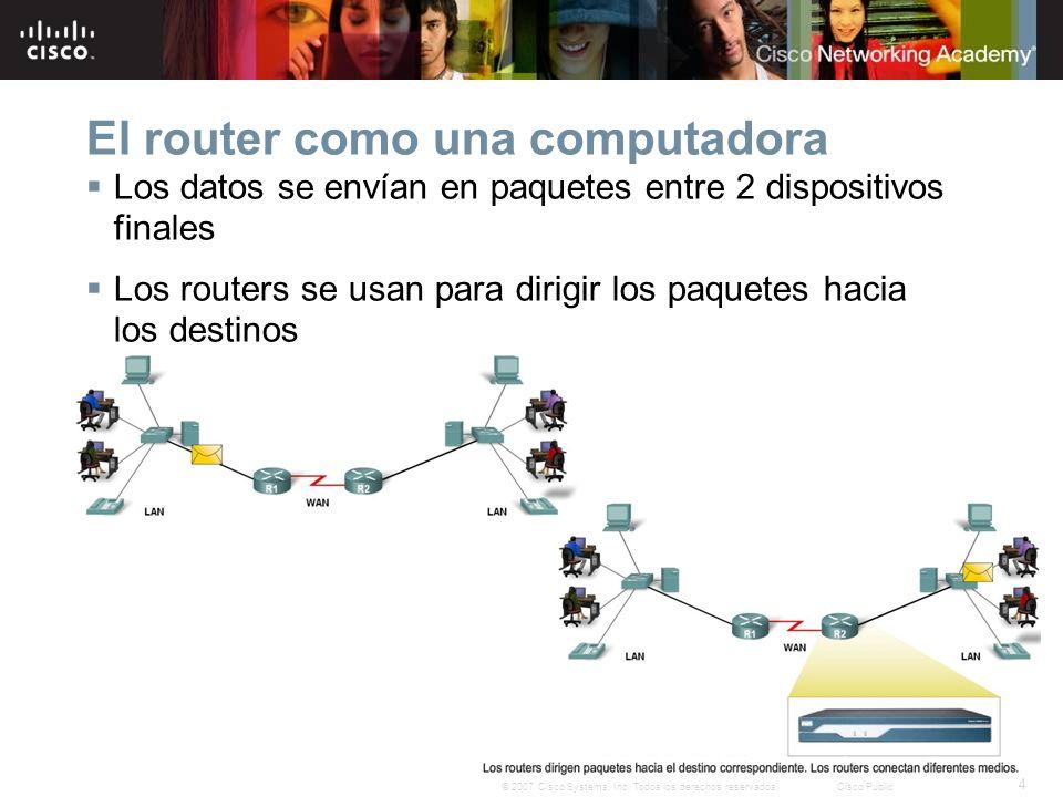 4 © 2007 Cisco Systems, Inc. Todos los derechos reservados.Cisco Public El router como una computadora Los datos se envían en paquetes entre 2 disposi