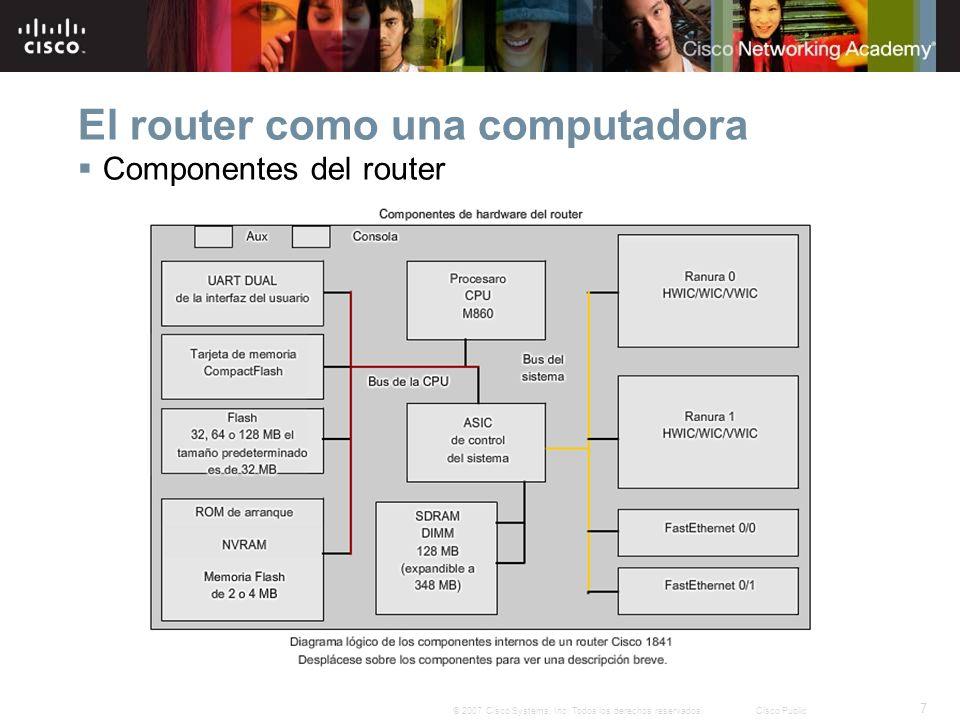 7 © 2007 Cisco Systems, Inc. Todos los derechos reservados.Cisco Public El router como una computadora Componentes del router