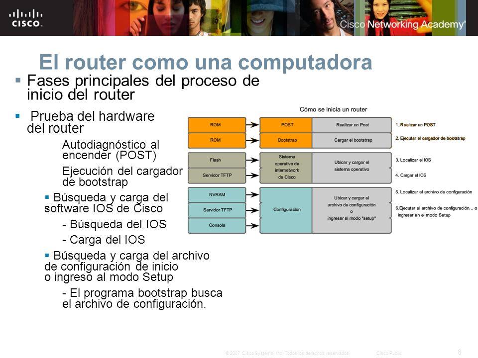 8 © 2007 Cisco Systems, Inc. Todos los derechos reservados.Cisco Public El router como una computadora Fases principales del proceso de inicio del rou