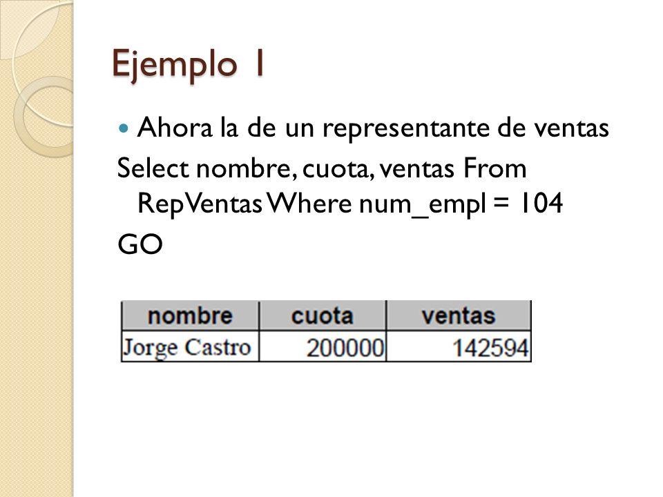 Ejemplo 1 Ahora agregaremos un pedido Insert Pedidos Values (111000, 5/15/1996 , 2101, 104, ACI , 41001 , 5, 275) GO Verifique los resultados anteriores Select * From Productos Where Id_Fab= ACI AND Id_Producto= 41001 GO