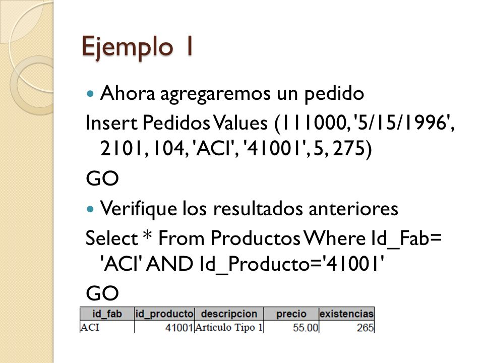 Ejemplo 1 Select nombre, cuota, ventas From RepVentas Where num_empl = 104 GO