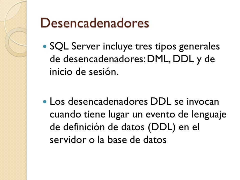 Desencadenadores Los desencadenadores de inicio de sesión activan procedimientos almacenados en respuesta a un evento LOGON.