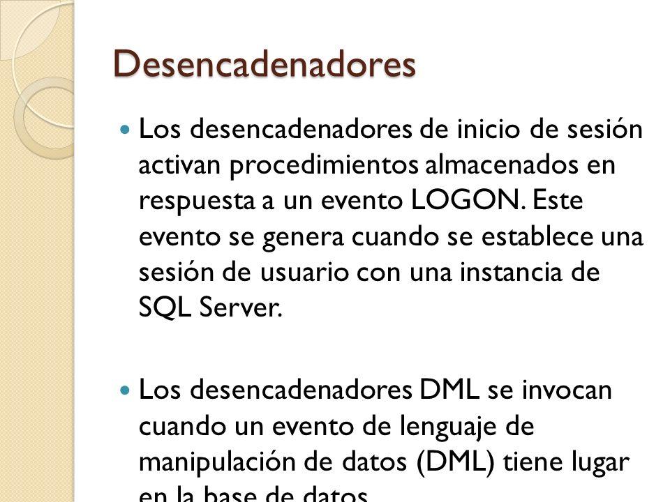 Desencadenadores DML Los eventos DML incluyen instrucciones INSERT, UPDATE o DELETE que modifican datos en una tabla o vista especificada.