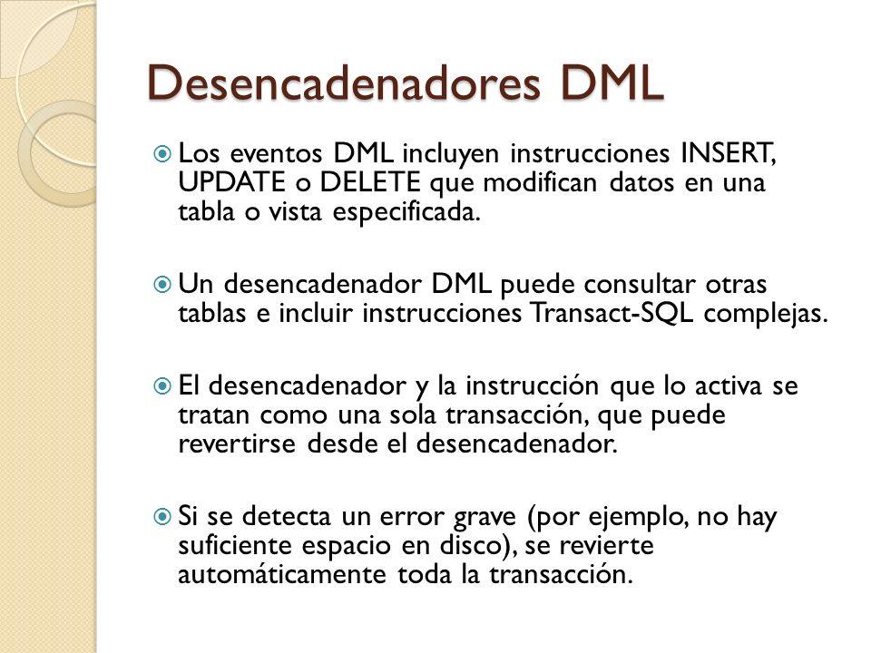 Desencadenadores DML Pueden realizar cambios en cascada mediante tablas relacionadas de la base de datos; sin embargo, estos cambios pueden ejecutarse de manera más eficaz mediante restricciones de integridad referencial en cascada.