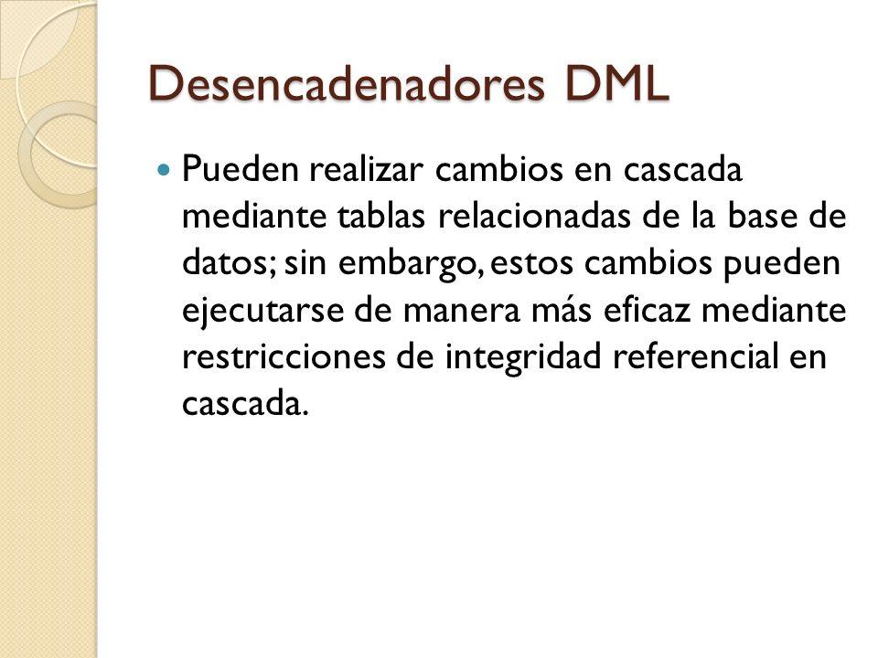 Desencadenadores DML Pueden proteger contra operaciones INSERT, UPDATE y DELETE incorrectas o dañinas, y exigir otras restricciones que sean más complejas que las definidas con restricciones CHECK.