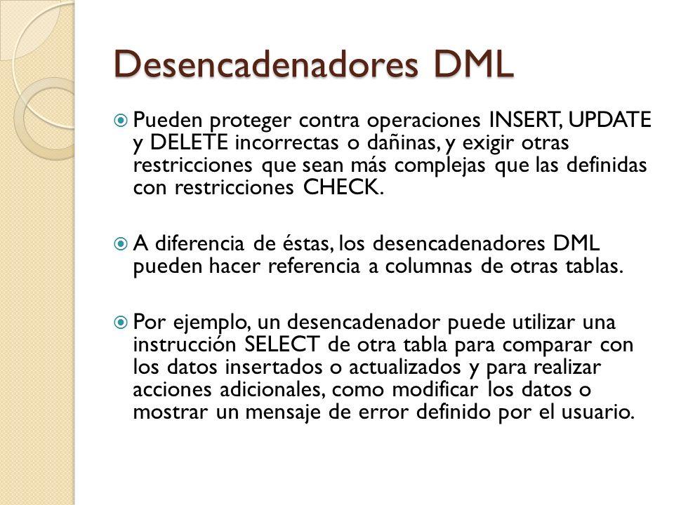 Desencadenadores DML Pueden evaluar el estado de una tabla antes y después de realizar una modificación de datos y actuar en función de esa diferencia.