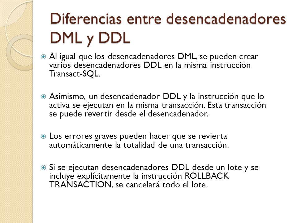 Diferencias entre desencadenadores DML y DDL Para crear un trigger DML, es necesario contar con permiso ALTER sobre la tabla o vista en la que se crea el trigger.