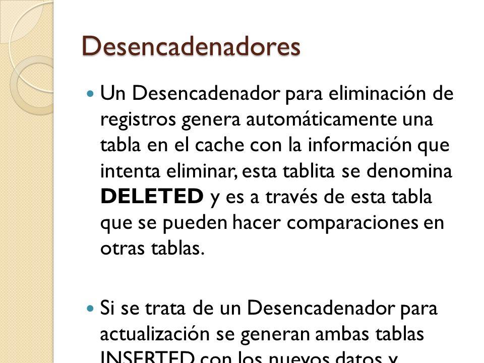 Desencadenadores Para crear un Desencadenador puede utilizar el siguiente formato: CREATE TRIGGER ON FOR AS Sentencias….