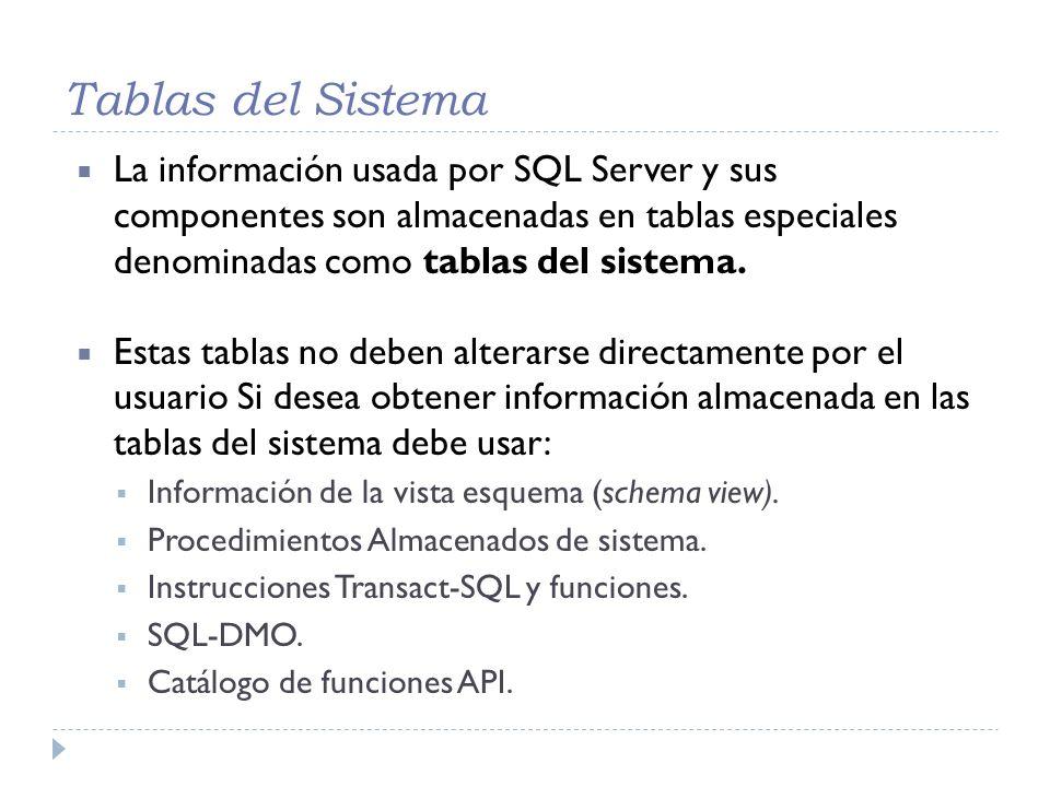Tablas del Sistema La información usada por SQL Server y sus componentes son almacenadas en tablas especiales denominadas como tablas del sistema. Est