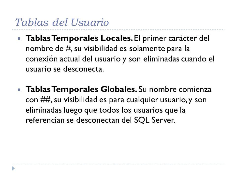 Tablas del Usuario Tablas Temporales Locales. El primer carácter del nombre de #, su visibilidad es solamente para la conexión actual del usuario y so
