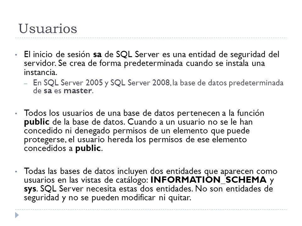 Usuarios El inicio de sesión sa de SQL Server es una entidad de seguridad del servidor. Se crea de forma predeterminada cuando se instala una instanci