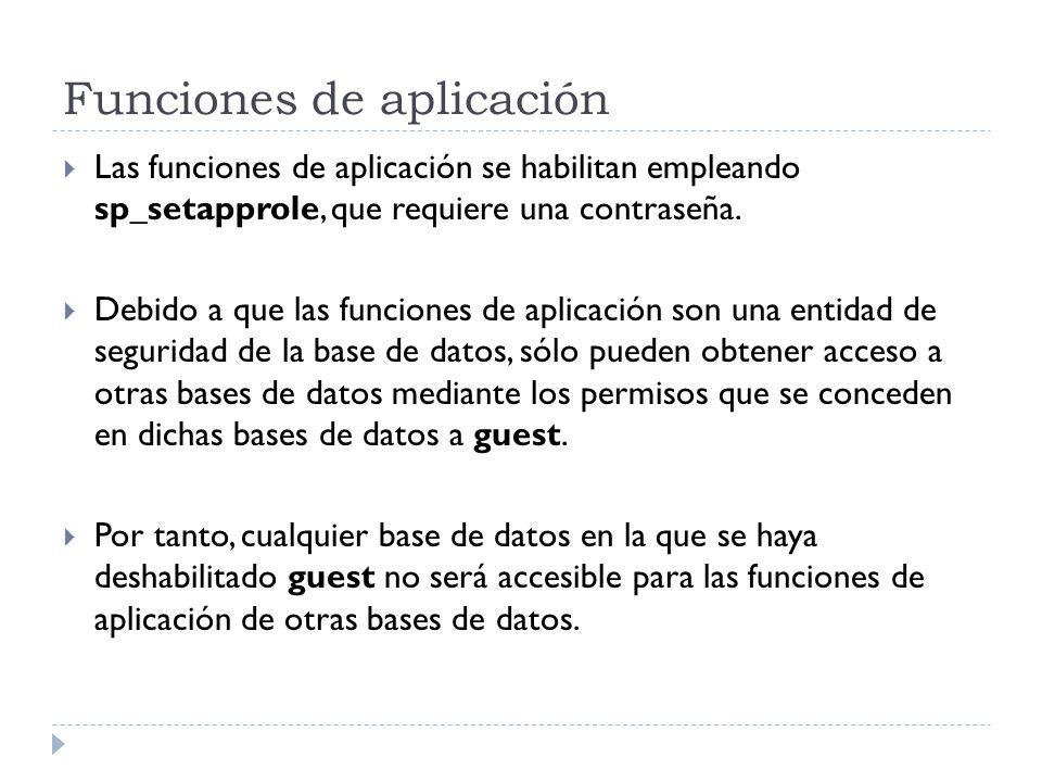 Funciones de aplicación Las funciones de aplicación se habilitan empleando sp_setapprole, que requiere una contraseña. Debido a que las funciones de a