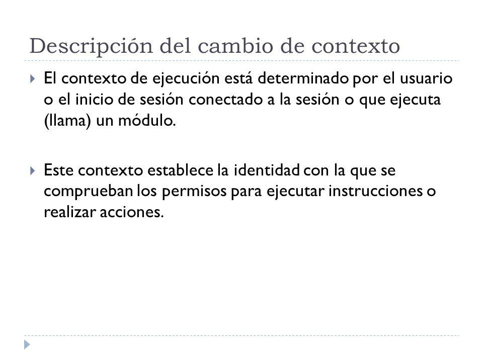 Descripción del cambio de contexto El contexto de ejecución está determinado por el usuario o el inicio de sesión conectado a la sesión o que ejecuta