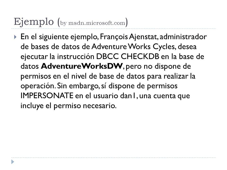 Ejemplo ( by msdn.microsoft.com ) En el siguiente ejemplo, François Ajenstat, administrador de bases de datos de Adventure Works Cycles, desea ejecuta