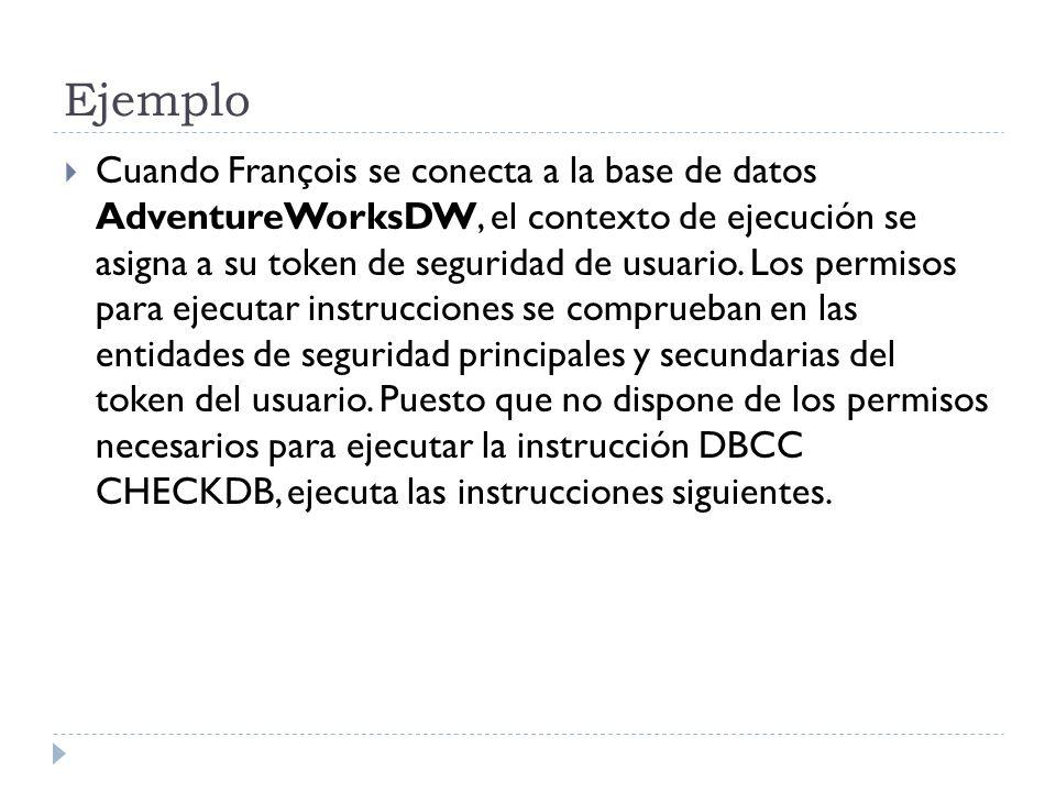 Ejemplo Cuando François se conecta a la base de datos AdventureWorksDW, el contexto de ejecución se asigna a su token de seguridad de usuario. Los per