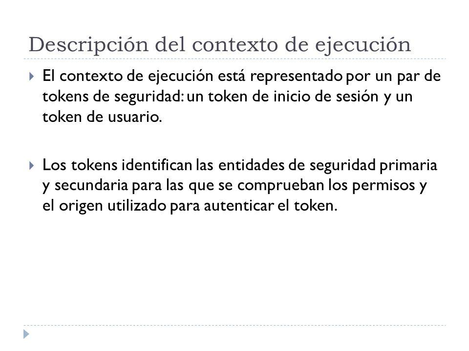 Descripción del contexto de ejecución El contexto de ejecución está representado por un par de tokens de seguridad: un token de inicio de sesión y un