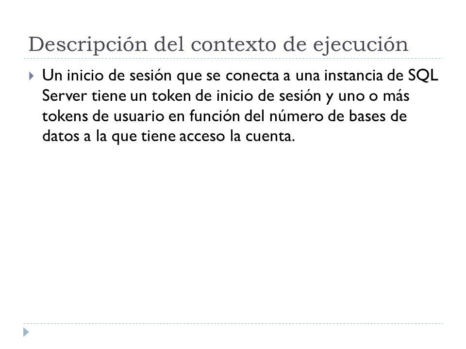 Descripción del contexto de ejecución Un inicio de sesión que se conecta a una instancia de SQL Server tiene un token de inicio de sesión y uno o más