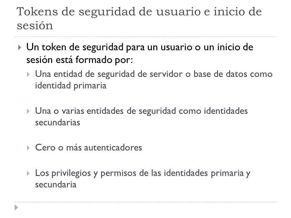 Tokens de seguridad de usuario e inicio de sesión Un token de seguridad para un usuario o un inicio de sesión está formado por: Una entidad de segurid
