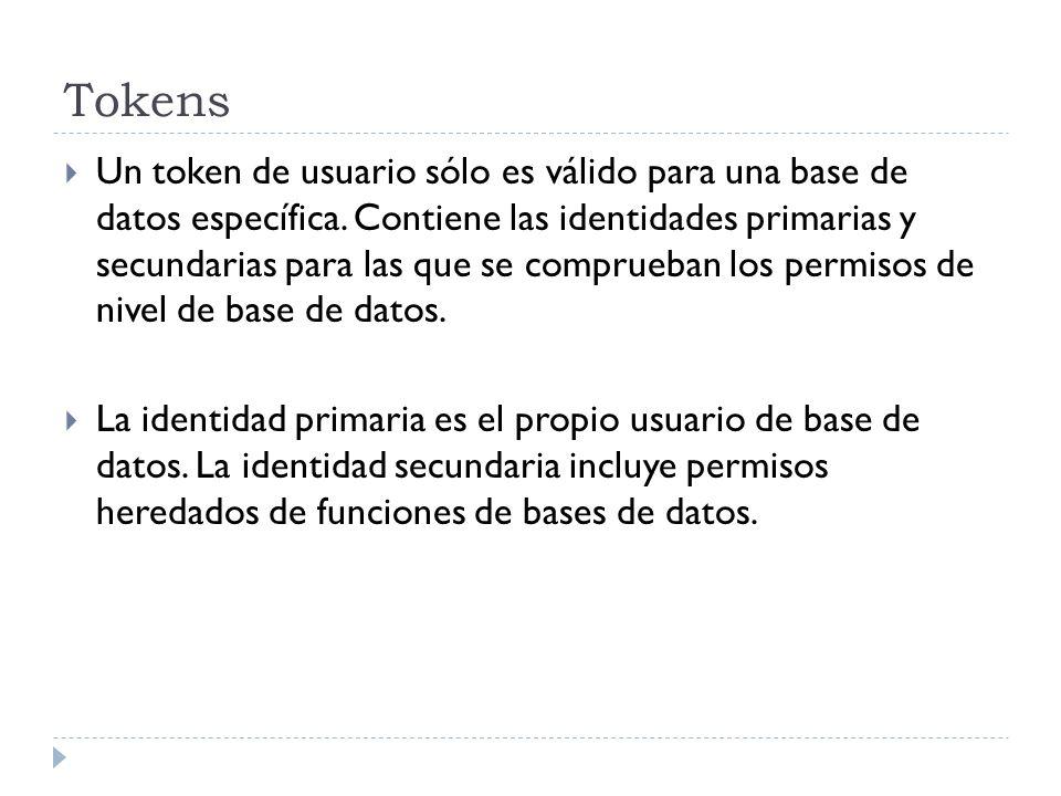 Tokens Un token de usuario sólo es válido para una base de datos específica. Contiene las identidades primarias y secundarias para las que se comprueb