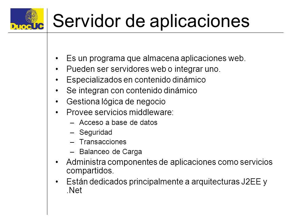 Servidor de aplicaciones Es un programa que almacena aplicaciones web. Pueden ser servidores web o integrar uno. Especializados en contenido dinámico