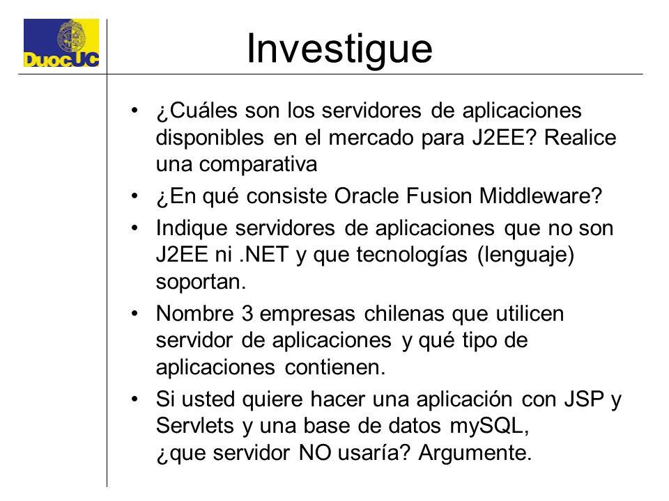 Investigue ¿Cuáles son los servidores de aplicaciones disponibles en el mercado para J2EE? Realice una comparativa ¿En qué consiste Oracle Fusion Midd