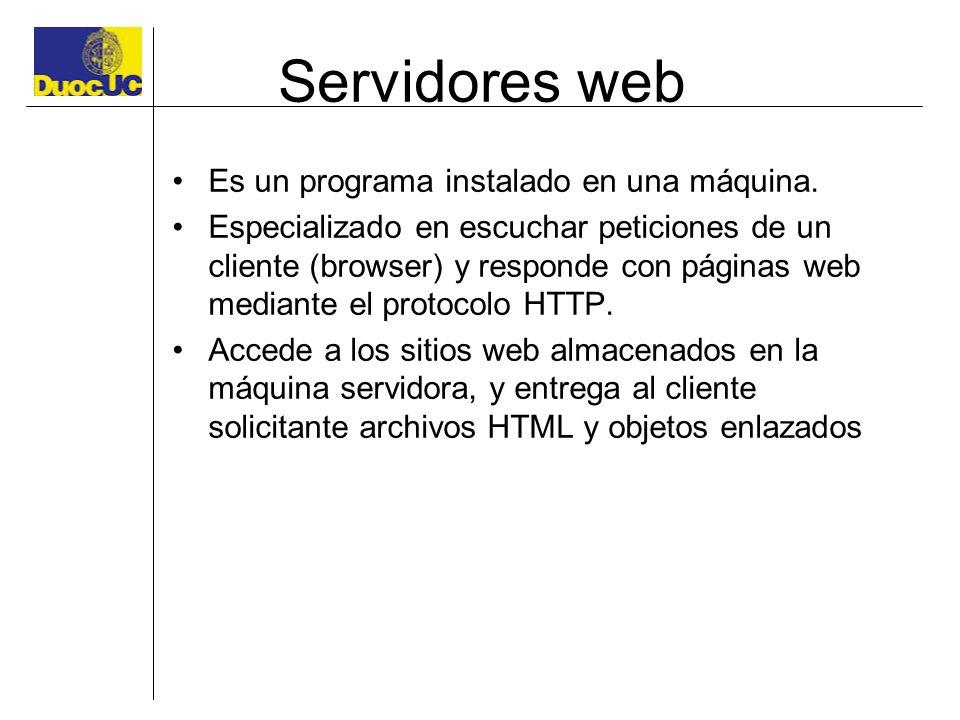 Servidores web Es un programa instalado en una máquina. Especializado en escuchar peticiones de un cliente (browser) y responde con páginas web median