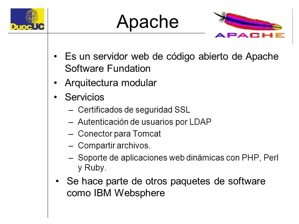 Apache Es un servidor web de código abierto de Apache Software Fundation Arquitectura modular Servicios –Certificados de seguridad SSL –Autenticación