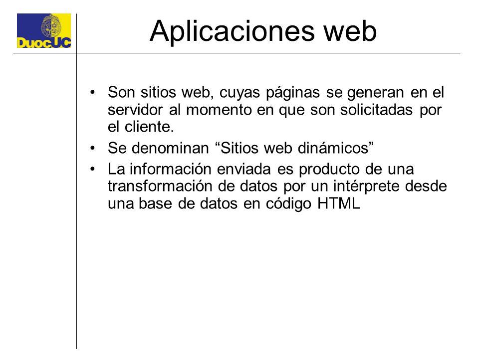 Aplicaciones web Son sitios web, cuyas páginas se generan en el servidor al momento en que son solicitadas por el cliente. Se denominan Sitios web din
