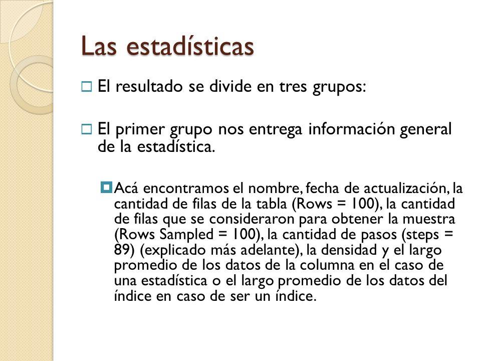 El resultado se divide en tres grupos: El primer grupo nos entrega información general de la estadística.