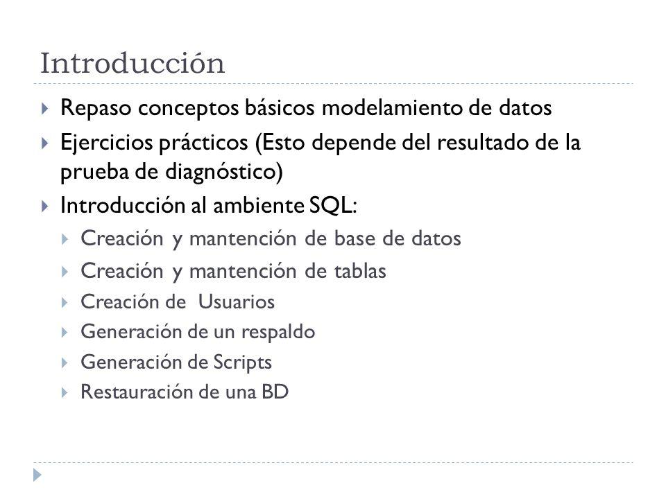Introducción Repaso conceptos básicos modelamiento de datos Ejercicios prácticos (Esto depende del resultado de la prueba de diagnóstico) Introducción