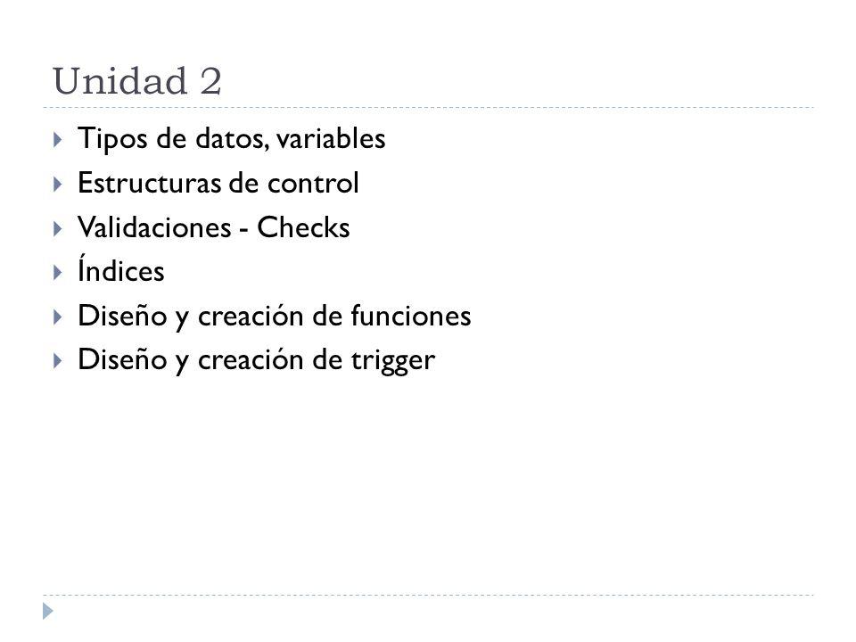 Unidad 3 Diseño y creación de procedimientos almacenados Diseño y creación de Cursores Consistencias de datos.