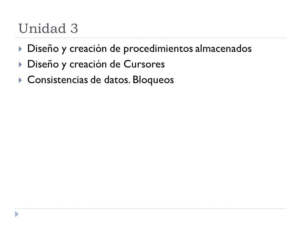 Unidad 3 Diseño y creación de procedimientos almacenados Diseño y creación de Cursores Consistencias de datos. Bloqueos