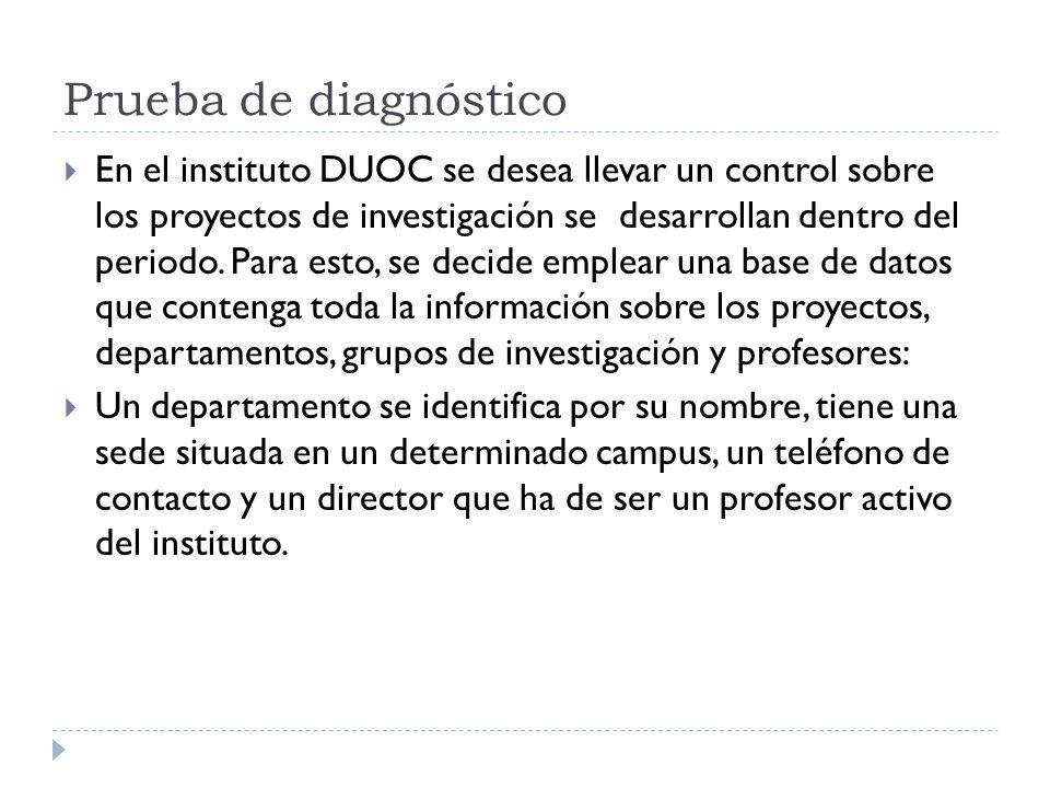 Prueba de diagnóstico En el instituto DUOC se desea llevar un control sobre los proyectos de investigación se desarrollan dentro del periodo. Para est