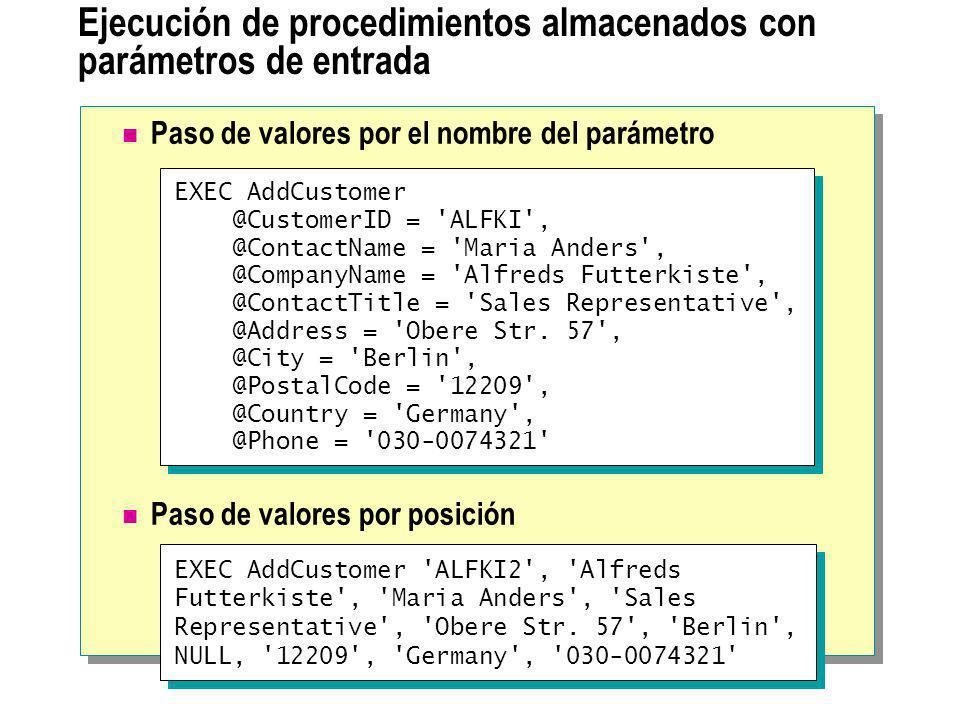 Ejecución de procedimientos almacenados con parámetros de entrada Paso de valores por el nombre del parámetro Paso de valores por posición EXEC AddCus