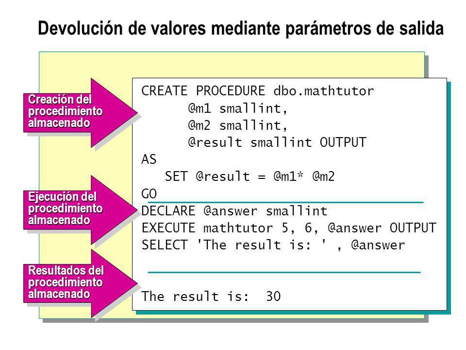 Devolución de valores mediante parámetros de salida CREATE PROCEDURE dbo.mathtutor @m1 smallint, @m2 smallint, @result smallint OUTPUT AS SET @result