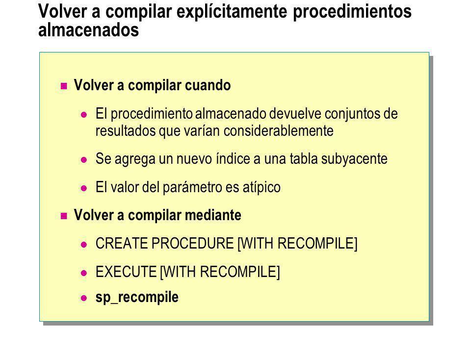 Volver a compilar explícitamente procedimientos almacenados Volver a compilar cuando El procedimiento almacenado devuelve conjuntos de resultados que