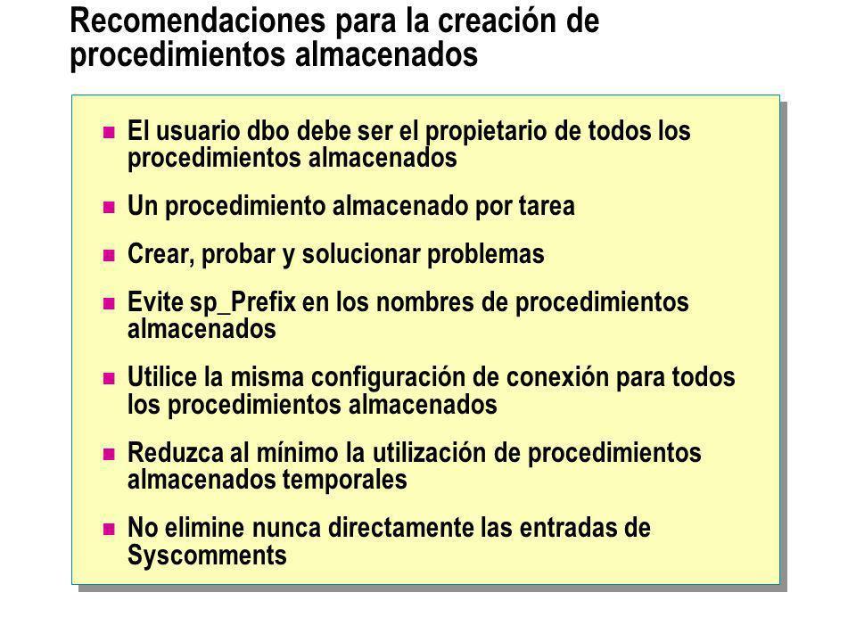 Recomendaciones para la creación de procedimientos almacenados El usuario dbo debe ser el propietario de todos los procedimientos almacenados Un proce