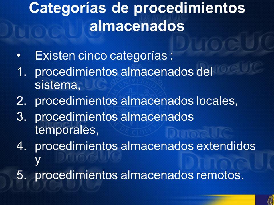 Procedimientos almacenados del sistema Los procedimientos almacenados del sistema son guardados en la base de datos Master y son típicamente identificados por el prefijo sp_ Ellos realizan una amplia variedad de tareas para soportar las funciones del SQL Server soportando: llamadas de aplicaciones externas para datos de las tablas del sistema, procedimientos generales para administración de las bases de datos, y funciones de administración de seguridad.