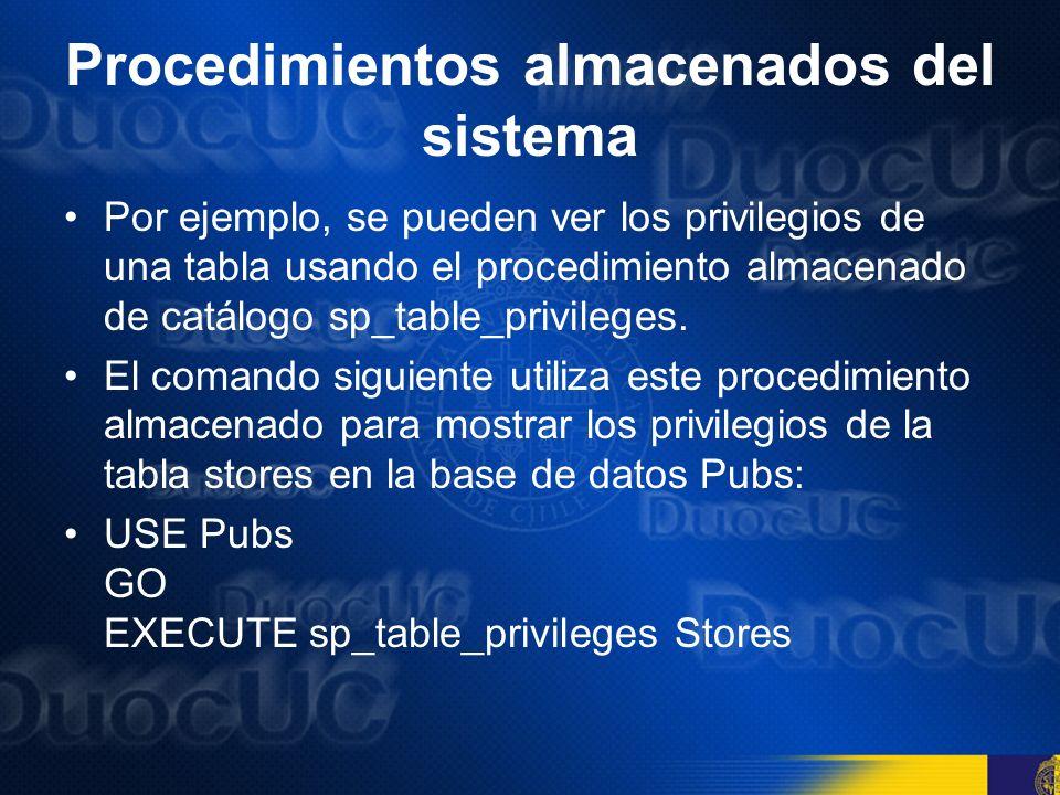 Procedimientos almacenados locales Los procedimientos almacenados locales son usualmente almacenados en una base de datos y están típicamente diseñados para completar tareas en la base de datos donde residen.