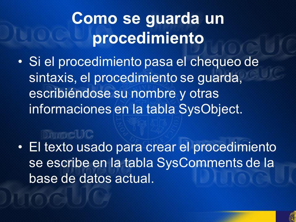 CREATE PROCEDURE Se puede usar el comando CREATE PROCEDURE, o su versión abreviada, CREATE PROC, para crear un procedimiento almacenado en el Query Analyzer.