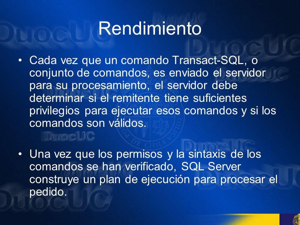 Rendimiento Los procedimientos almacenados son más eficientes en parte porque el procedimiento es almacenado en el SQL Server cuando se crea La sintaxis de los comandos contenidos en un procedimiento almacenado se comprueba que este libre de errores antes de ser guardado.