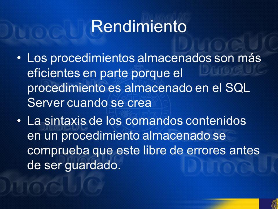 Rendimiento El nombre del procedimiento almacenado se almacena en la tabla SysObjects, mientras que el texto del procedimiento se guarda en la tabla SysComments.