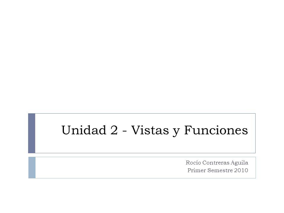 Unidad 2 - Vistas y Funciones Rocío Contreras Aguila Primer Semestre 2010
