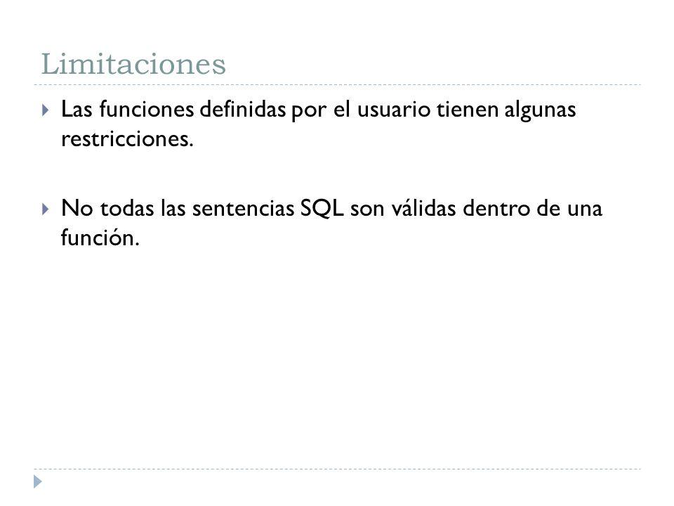 Limitaciones Las funciones definidas por el usuario tienen algunas restricciones. No todas las sentencias SQL son válidas dentro de una función.