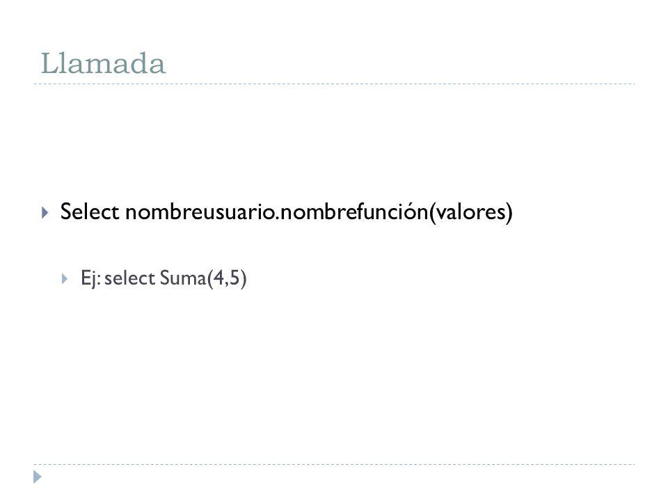 Llamada Select nombreusuario.nombrefunción(valores) Ej: select Suma(4,5)