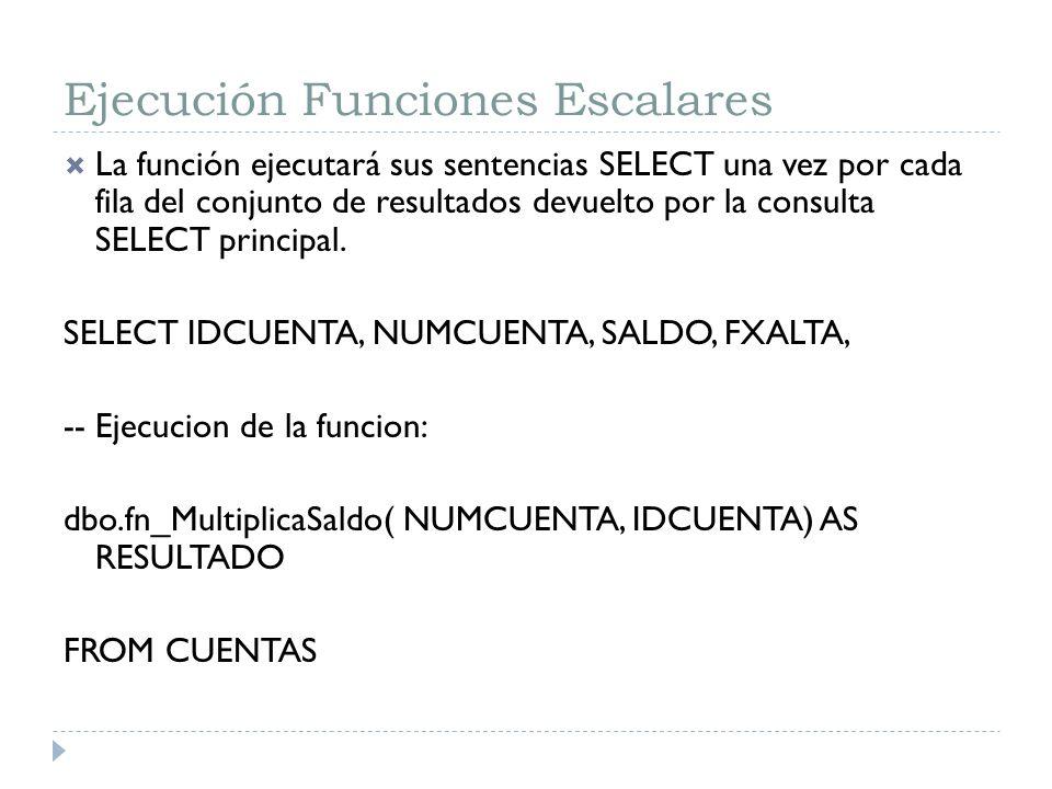 Ejecución Funciones Escalares La función ejecutará sus sentencias SELECT una vez por cada fila del conjunto de resultados devuelto por la consulta SEL