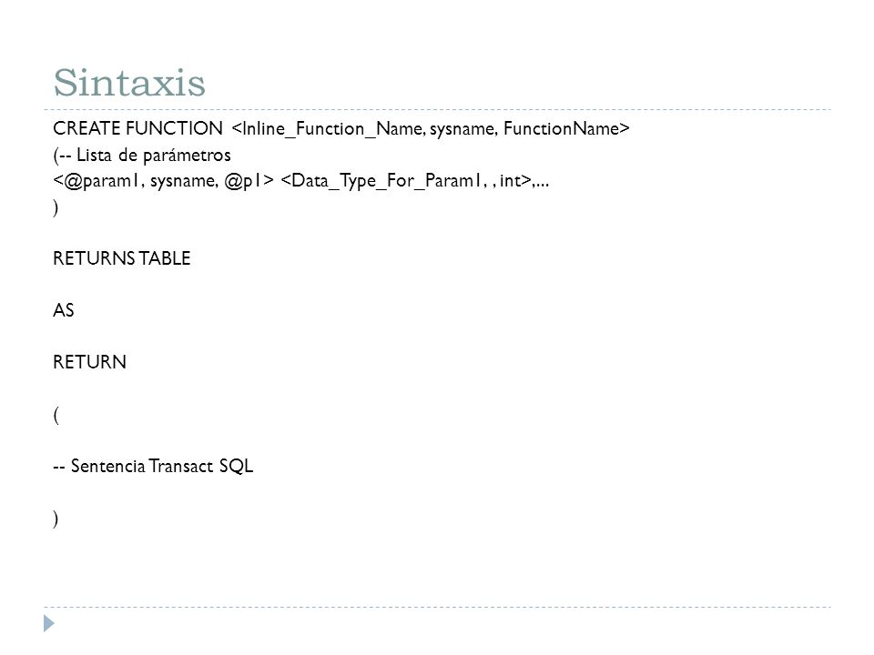 Sintaxis CREATE FUNCTION (-- Lista de parámetros,... ) RETURNS TABLE AS RETURN ( -- Sentencia Transact SQL )
