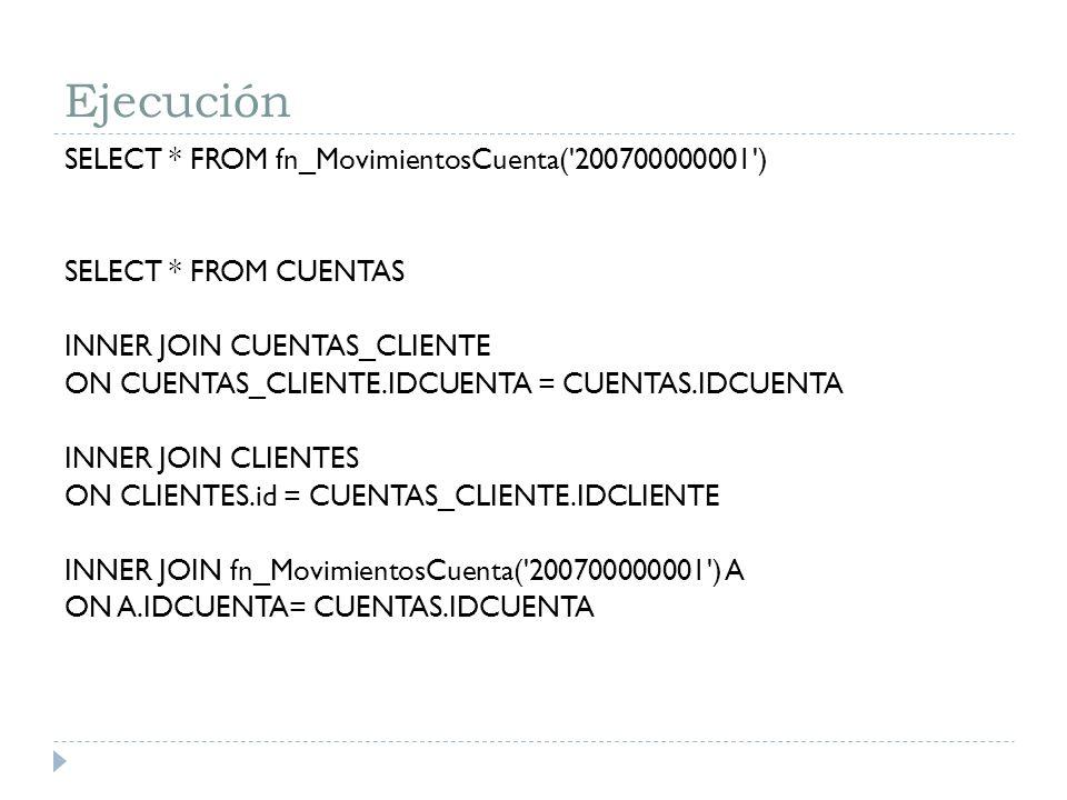 Ejecución SELECT * FROM fn_MovimientosCuenta('200700000001') SELECT * FROM CUENTAS INNER JOIN CUENTAS_CLIENTE ON CUENTAS_CLIENTE.IDCUENTA = CUENTAS.ID