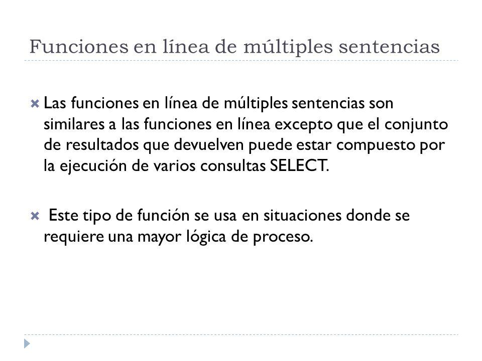 Funciones en línea de múltiples sentencias Las funciones en línea de múltiples sentencias son similares a las funciones en línea excepto que el conjun