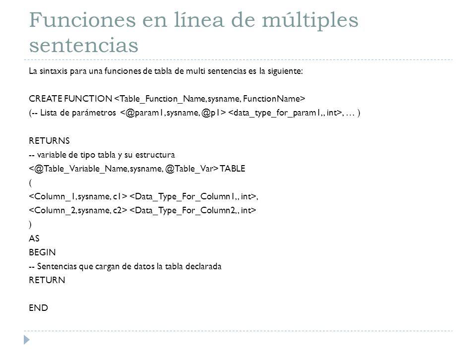 Funciones en línea de múltiples sentencias La sintaxis para una funciones de tabla de multi sentencias es la siguiente: CREATE FUNCTION (-- Lista de p